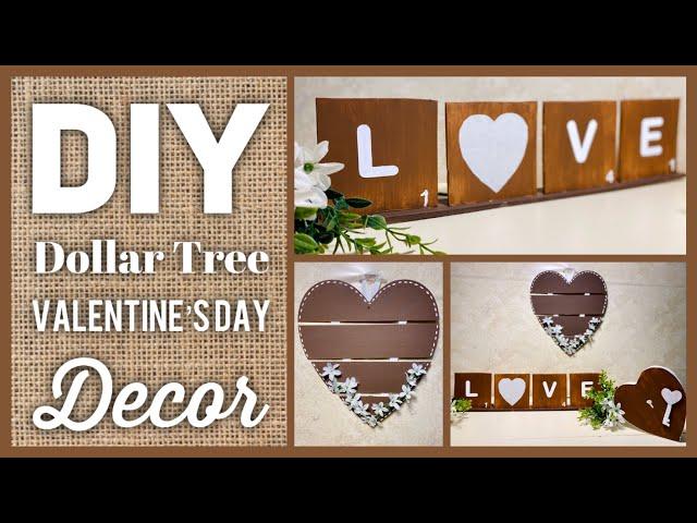 DIY Dollar Tree Farmhouse Valentine's Day or Any Day Decor - Farmhouse Home Decor 2020 - Easy Crafts