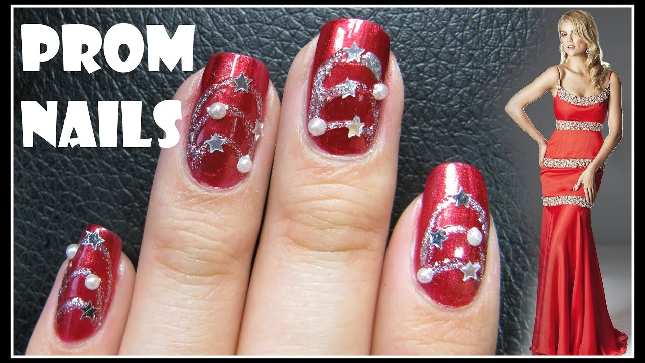 Red And Silver Nail Designs For Prom : Easy prom nail design red formal art tutorial decal