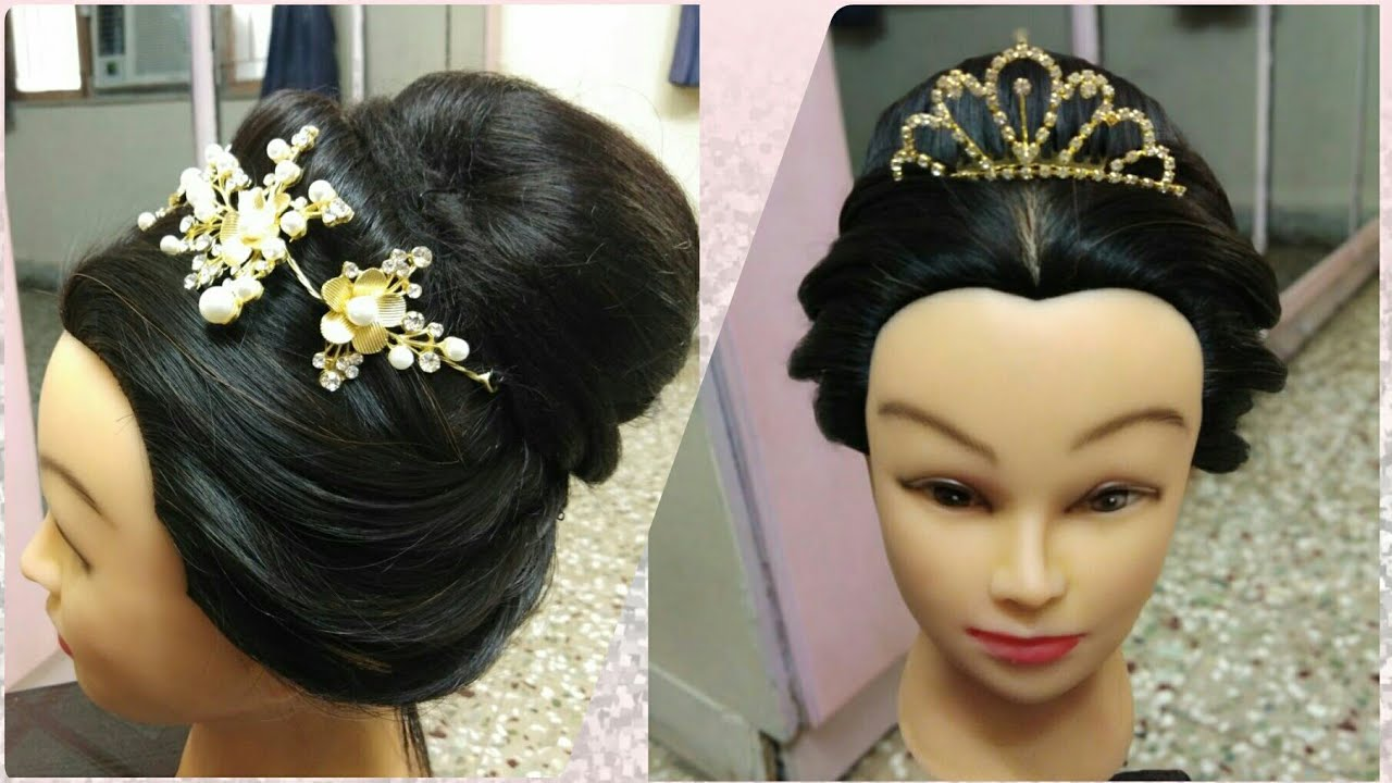 Bridal Hairstyle With Crown Hairstyle With Crown Headband Youtube