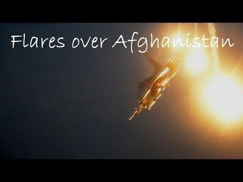 F-16 and Flares Over Afghanistan - Dec 2016