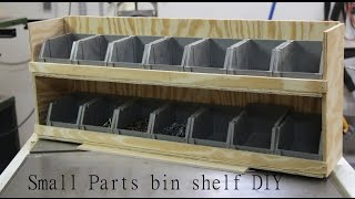 Shop Garage Storage, Small Parts Bin Shelf.   Diy