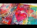 Gelli print background with hearts