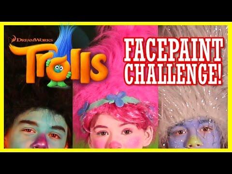 TROLLS FACEPAINT CHALLENGE!    TROLLS MOVIE 2016    KITTIESMAMA