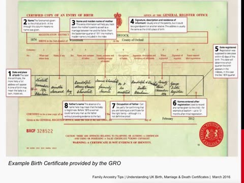 Understanding uk birth certificates youtube - General register office birth certificate ...