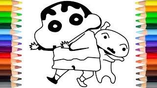 怎样画蜡笔小新和小白 Crayon Shin Chan and his dog   クレヨンしんちゃん