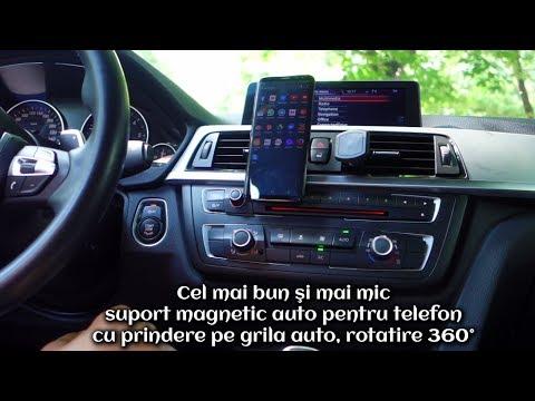 Suport Magnetic Auto Pentru Telefon - Prindere Pe Grila Auto, Rotire 360°