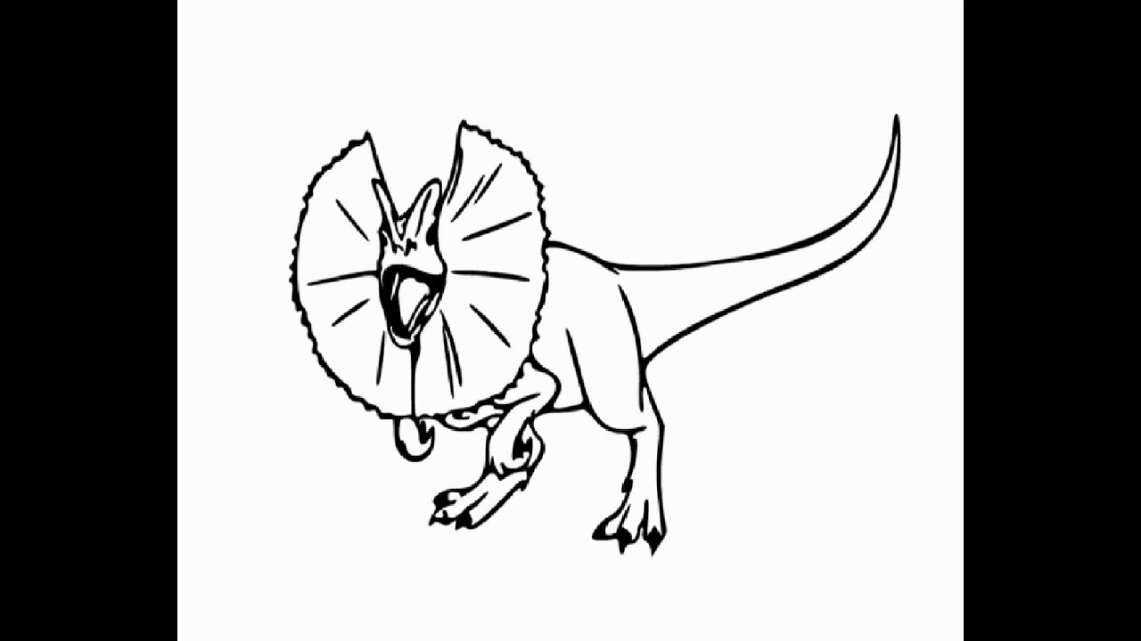 How to draw dilophosaurus dinosaur pencil drawing step by step