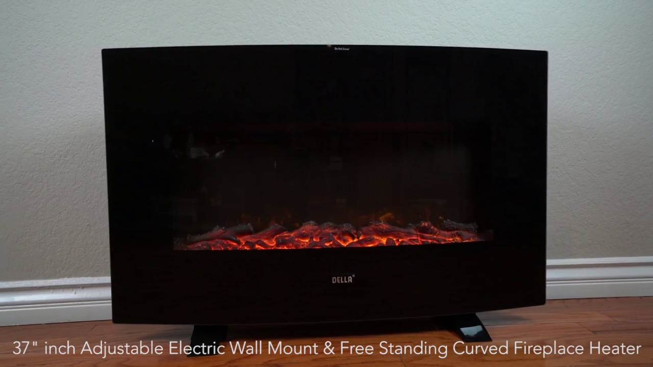 electric wall fireplace heaters. Della  Elegant 37 inch Electric Wall Mount Free Standing Black Fireplace Heater XL with Remote