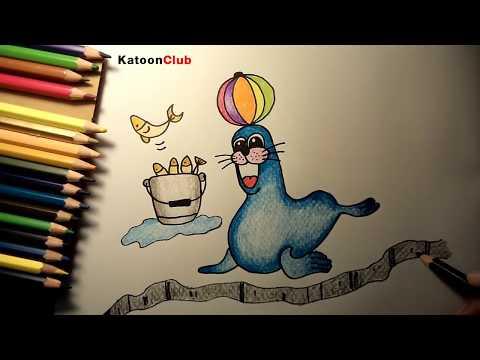 แมวน้ำ สอนวาดรูปการ์ตูนน่ารักง่ายๆ ระบายสี How to Draw Seal Cartoon for Kids Easy Step by Step