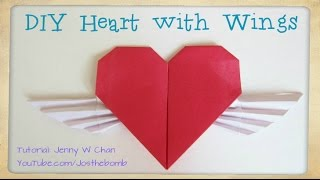 Valentine's Day Craft - DIY How to Fold a Origami Heart w/ Wings Tutorial - Origami Cupid Wing Heart