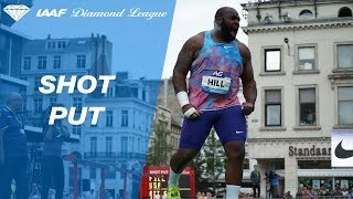 Darell Hill throws 22.44m in the final round of shot put to win IAAF Diamond League - Brussels 2017