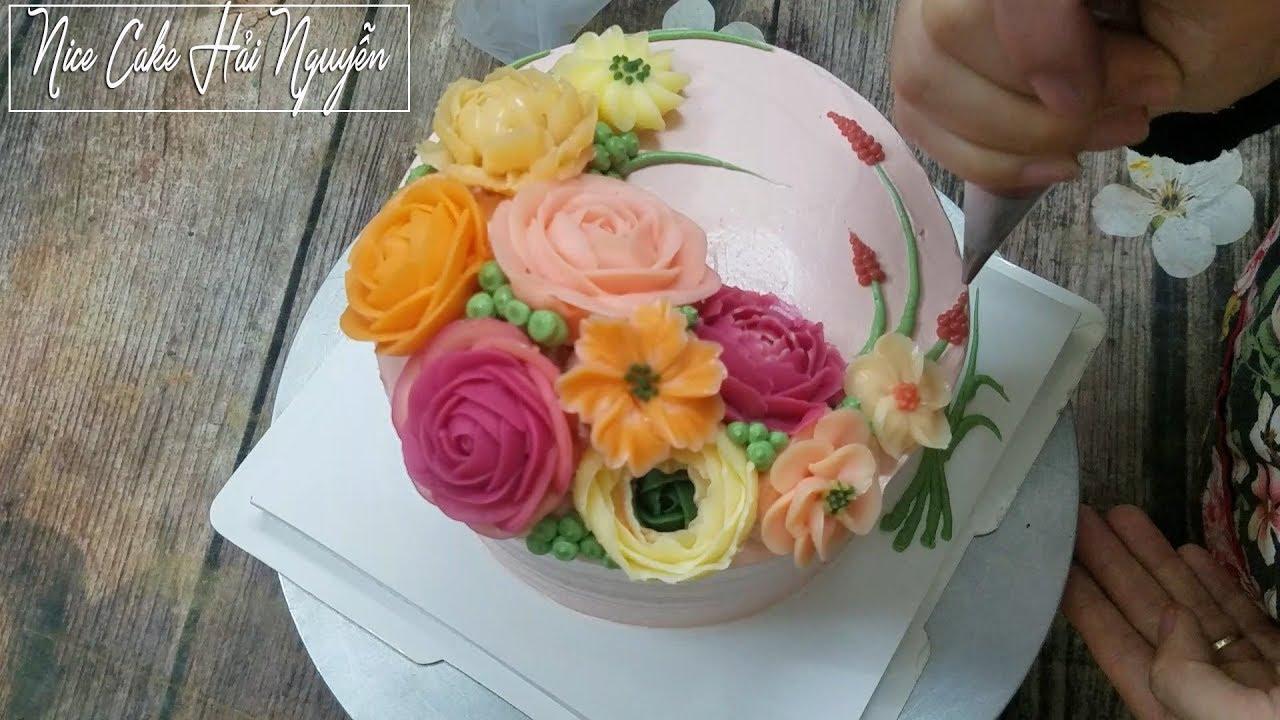 Bánh Sinh Nhật Trang Trí Với Hoa Kem Bơ Bắt Từ Đuôi 104 – Decorate Nice Cake With ButtercreamFlower