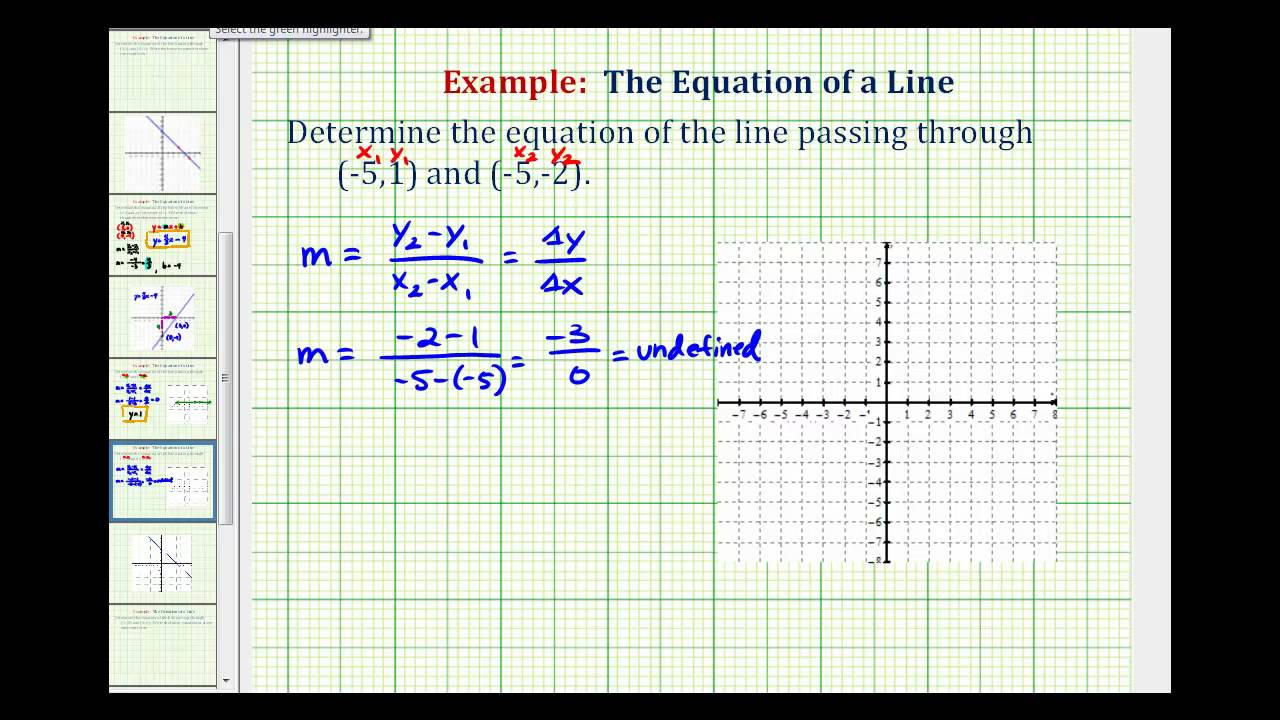 slope intercept form vertical line  Ex: Find the Equation of a Vertical Line Given Two Points on the Line
