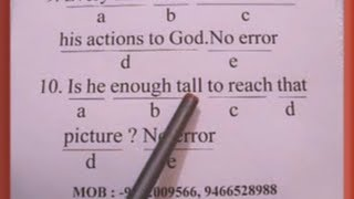 Finding Common Error (English Grammar) Part-2   (SSC,Banking,Delhi Police,Air Force,Army,CDS,NDA)