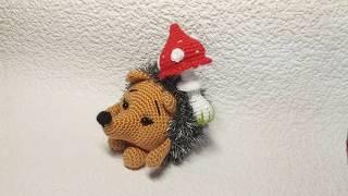 Ежик с грибочком - игрушка вязаная крючком