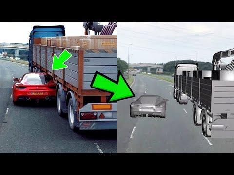 الفيديو الذي خدع الملايين... كشف حقيقة الفيراري التي دخلت تحت الشاحنة !!