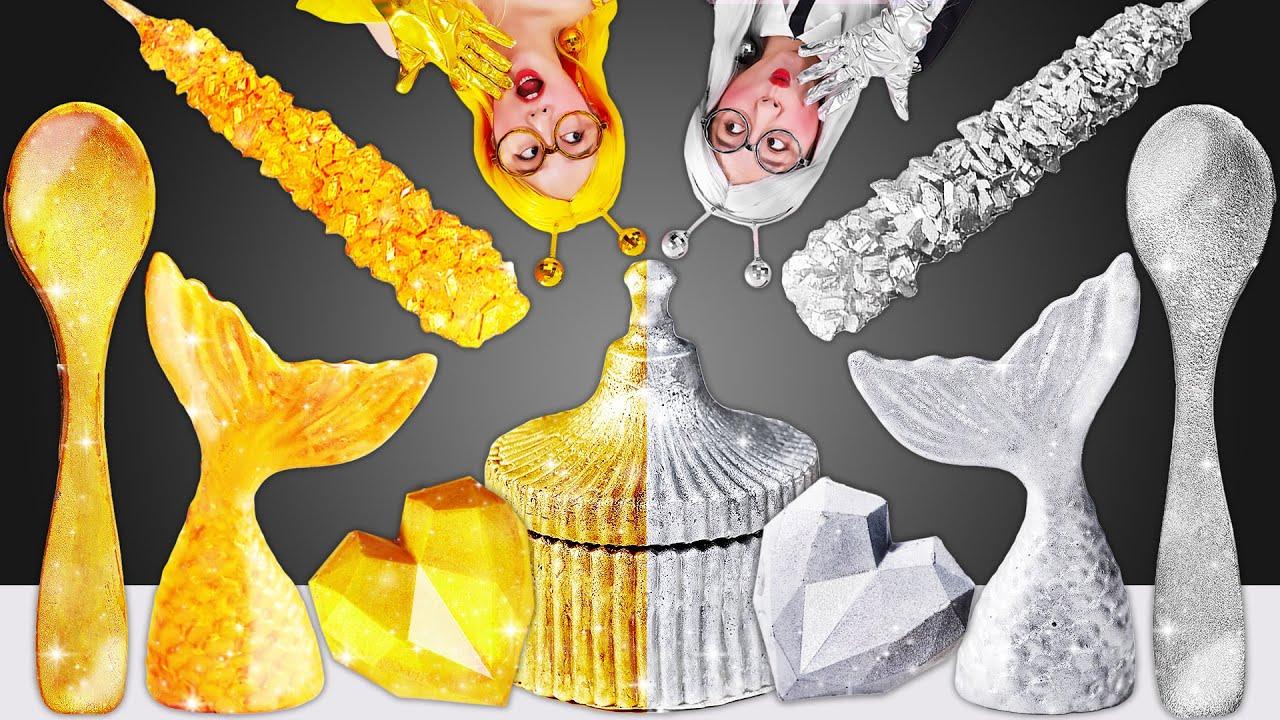 🥇Gold food vs 🥈Sliver food challenge Mukbang DK와 금색 은색 디저트챌린지 먹방 JiniYum 지니얌