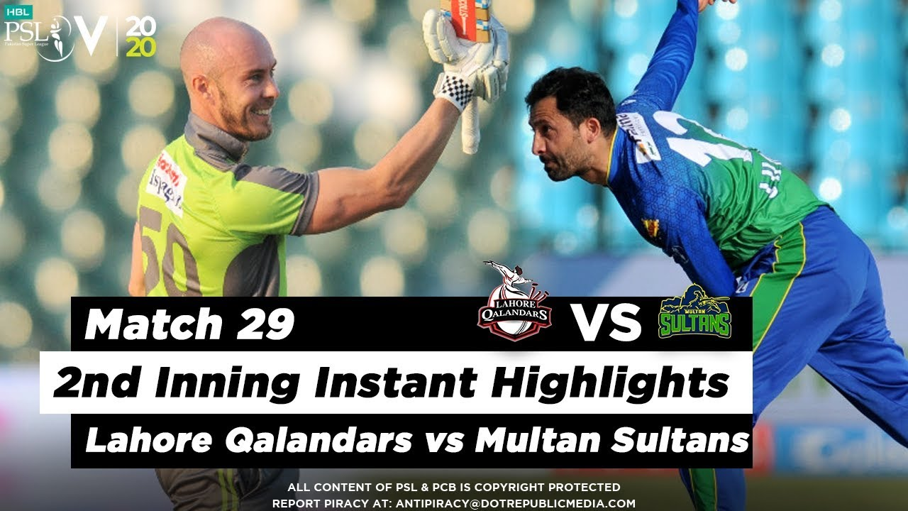 Lahore Qalandars vs Multan Sultans | 2nd Inning Highlights | Match 29 | 15 March | HBL PSL 2020