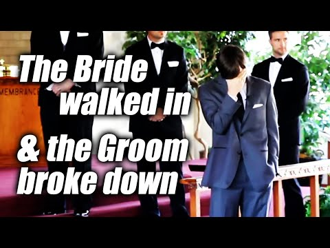 Groom just can't stop crying when he sees his bride