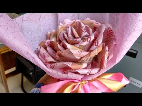 Diy Cara Gampang Bikin Bunga Mawar Uang Kertas Money Bouquet Youtube