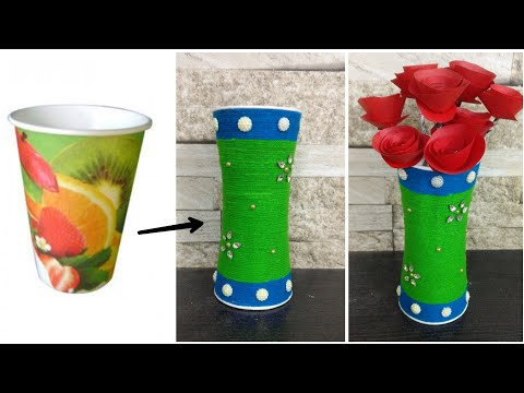 How To Make Paper Flower Vase  With Paper Glasses | Paper Glasses Craft | DIY | Best Out Of Waste