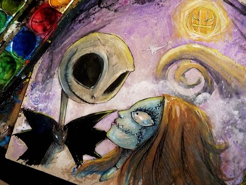 THE NIGHTMARE BEFORE CHRISTMAS: Time Lapse Watercolor Painting ...