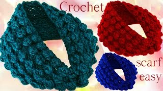 Repeat youtube video Aprende hacer bufanda infinita con hojas en relieve a Crochet