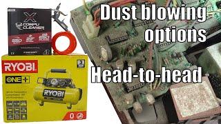 PCB DUST-OFF Ryobi mini compressor vs Compu-Cleaner Xpert