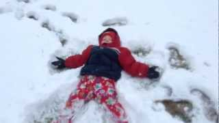 Toddler Sled - Toddler's first time sled riding - HILARIOUS!