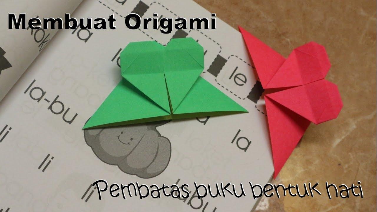 Cara membuat origami pembatas buku bentuk hati