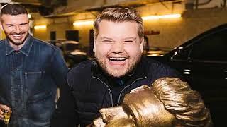 David Beckham left FURIOUS as James Corden unveils fake statue of footballer in hilarious prank   Da