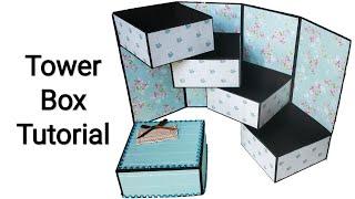 Tower Gift Box Card Tutorial | Stepper Box Card Tutorial | Ladder Box Tutorial | By Crafts Space
