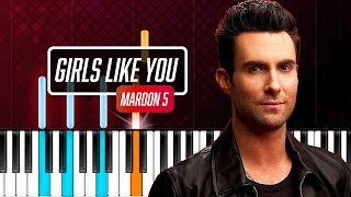 """Download Lagu Maroon 5 - """"Girls Like You"""" Piano Tutorial - Chords - How To Play - Cover Mp3"""