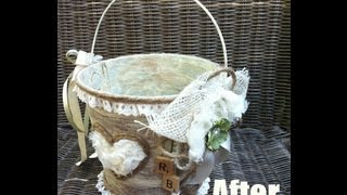Rustic Shabby Chic Flower Girl Pail & Accessories