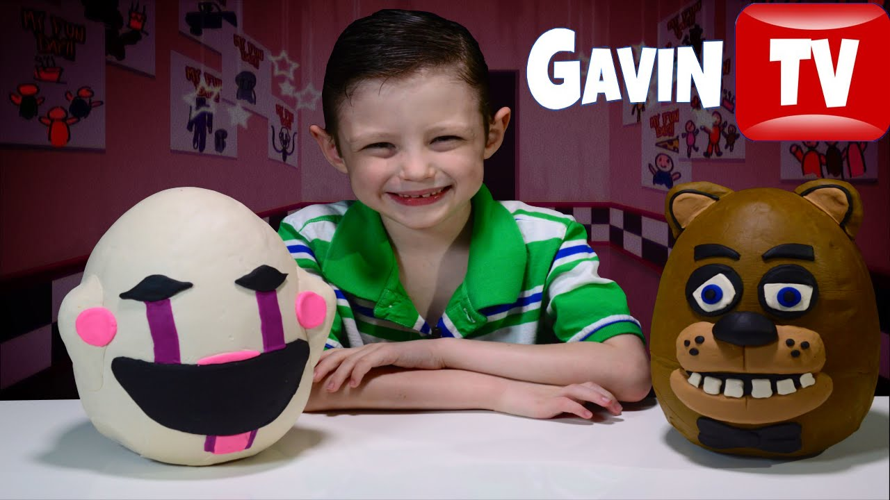 Fnaf fazbear amp the puppet 3d playdoh eggs with plushies youtube