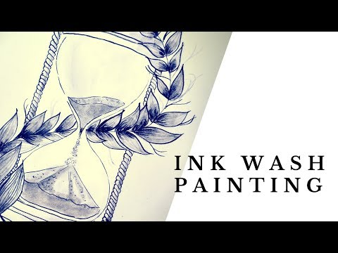 Ink wash | Speedpaint | Hourglass | Ink Painting Time Lapse