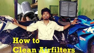 HOW TO CLEAN AIR FILTER OF MOTORBIKES