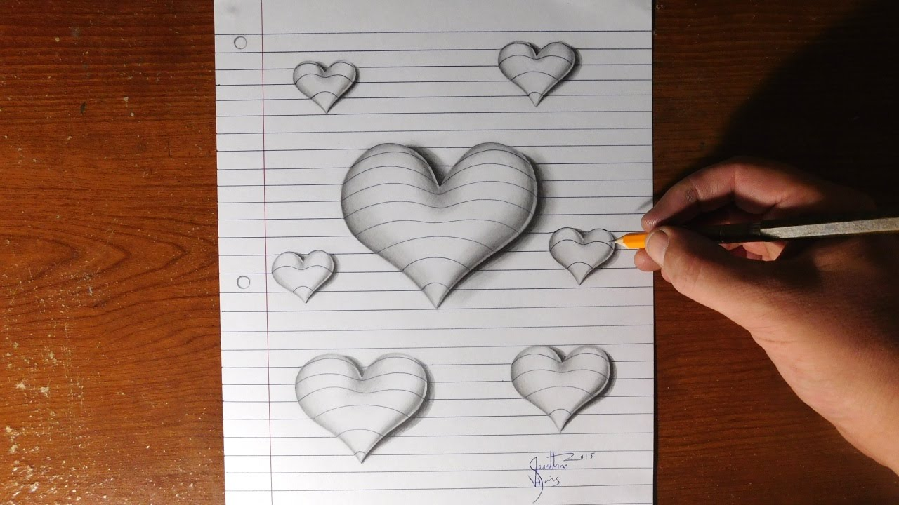 D Lined Paper Drawings : How to draw d hearts line paper trick art youtube