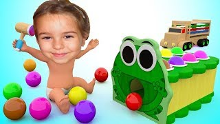 Baby Wooden Frog Hammer Toy