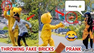 Fake Bricks Throwing Prank on Strangers🤣🤣 Part-2| Funny Reaction😝😝| India 🇮🇳| Kolkata | Crazy Teddy