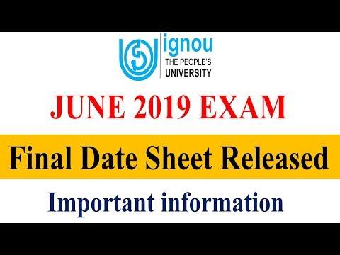 IGNOU JUNE 2019 TERM END EXAM FINAL DATESHEET RELEASED