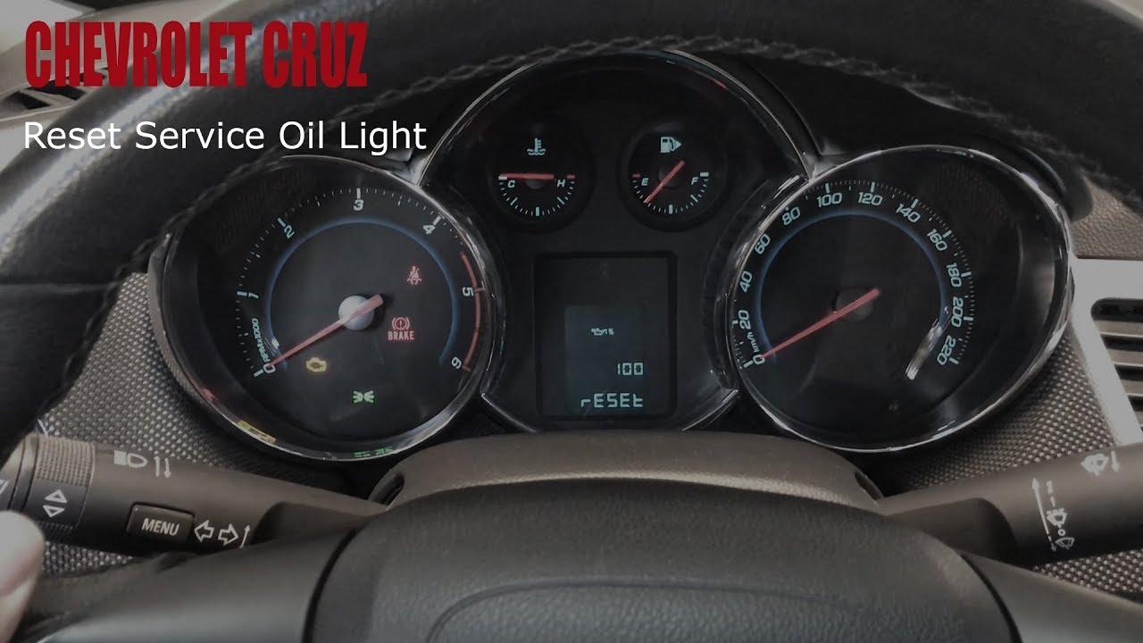 chevrolet cruze - reset service oil light - youtube