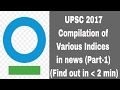 UPSC 2017-Compilation of Various Indices in news Part 1 (Find out in less than 2 min)