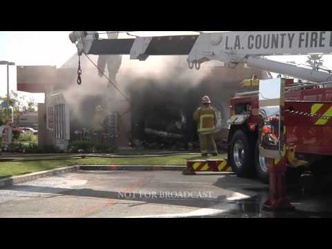 Los Angeles County Fire  Car Slammed into a Del Taco  City of Industry  5-3-11