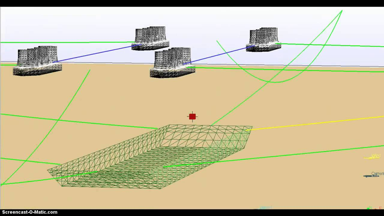 Mooring simulation: Installing a concrete block on the seabed