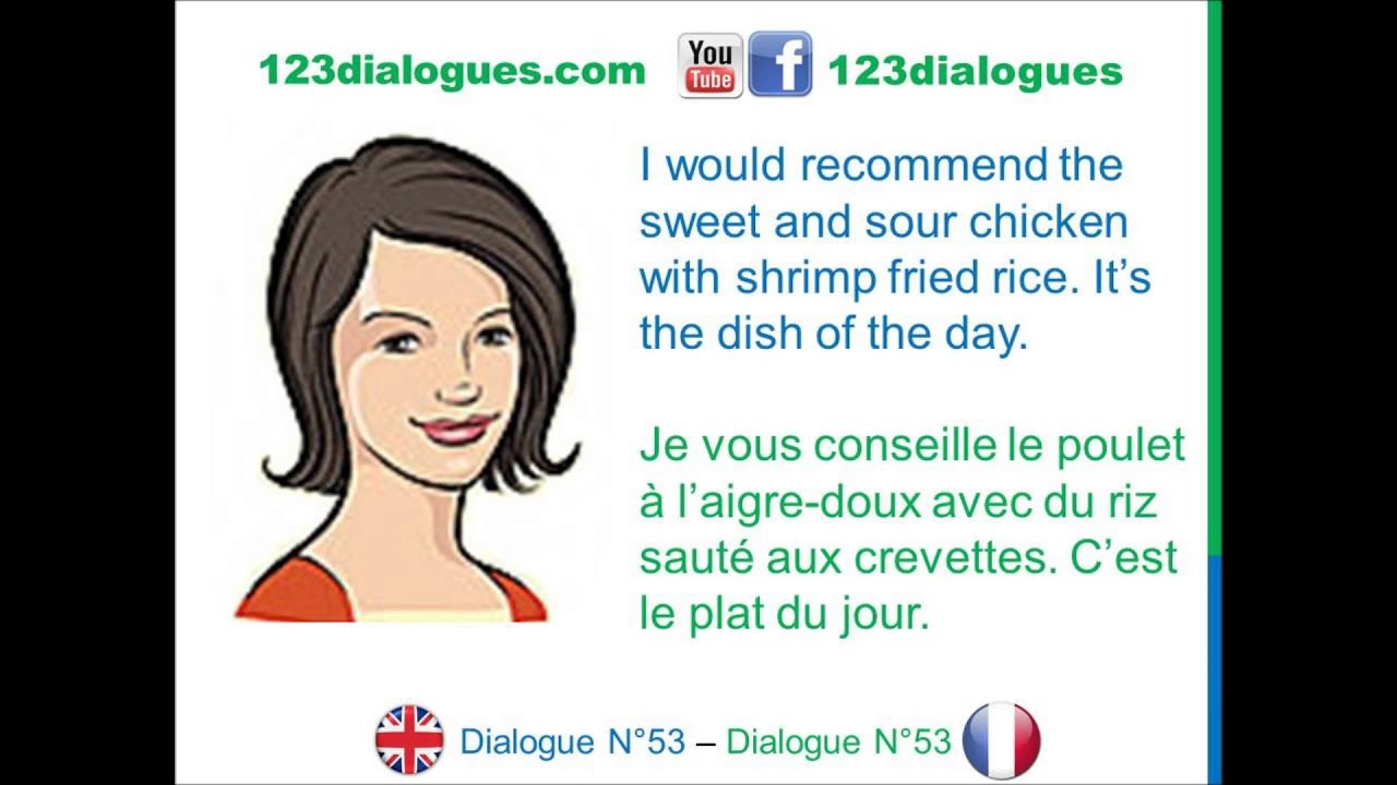 Dialogue 53 - English French Anglais Français - Ordering food at the  restaurant - Commander