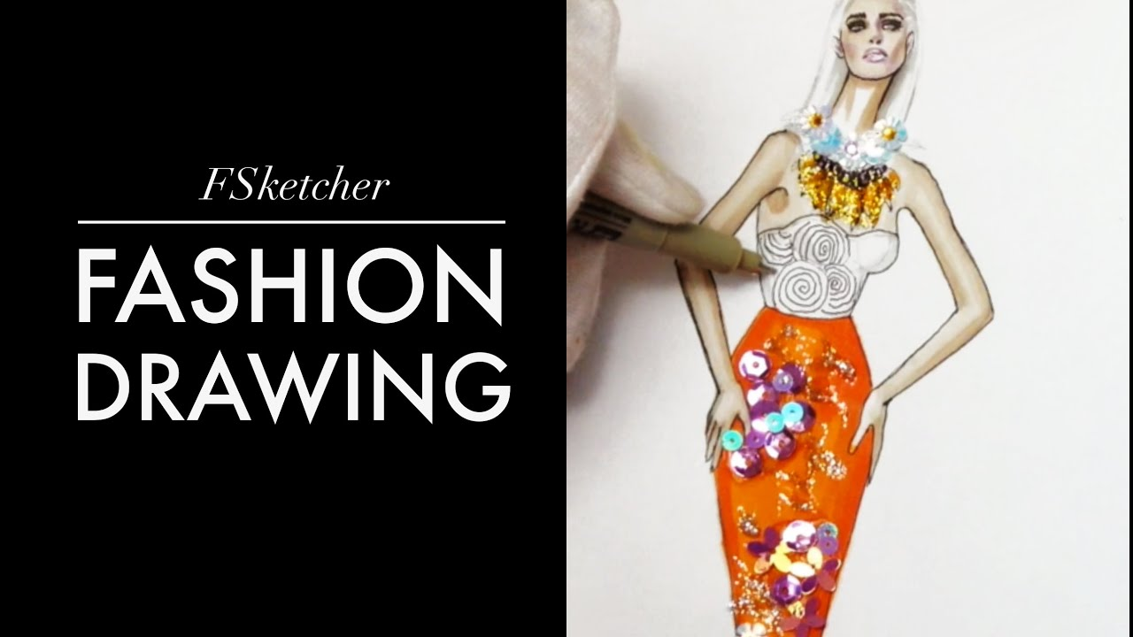 How to add sequins sketch part fashion drawing