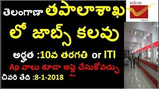 10th Qualification Jobs In Postal Departement || Latest Govt Job Notifications 2017 In Telugu