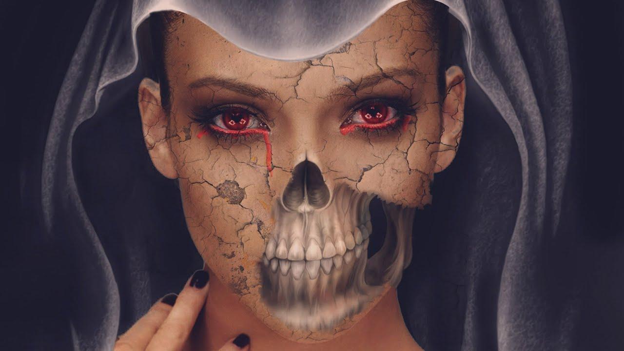 photoshop halloween skull face in photoshop youtube - Halloween Skull