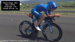 The first several male pros past mile 110 at the 2017 Ironman World...